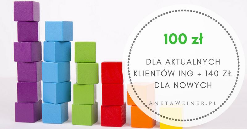 100 zł za regularne oszczędzanie dla aktualnych klientów ING (+ 140 zł dla nowych)