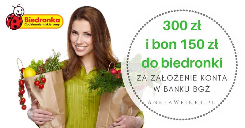 300 zł za płatności mobilne oraz 150 zł do Biedronki za płatności kartą i przelewy od Banku BGŻ