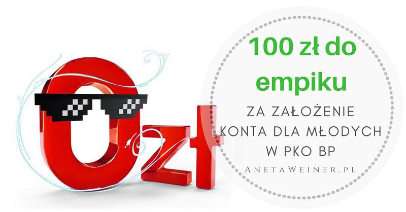 100 zł do empik.com za samo założenie Konta dla Młodych w PKO BP (+50 zł w programie poleceń)